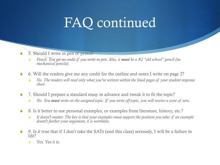 FAQ continued