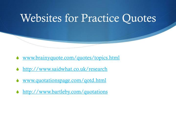 Websites for Practice Quotes