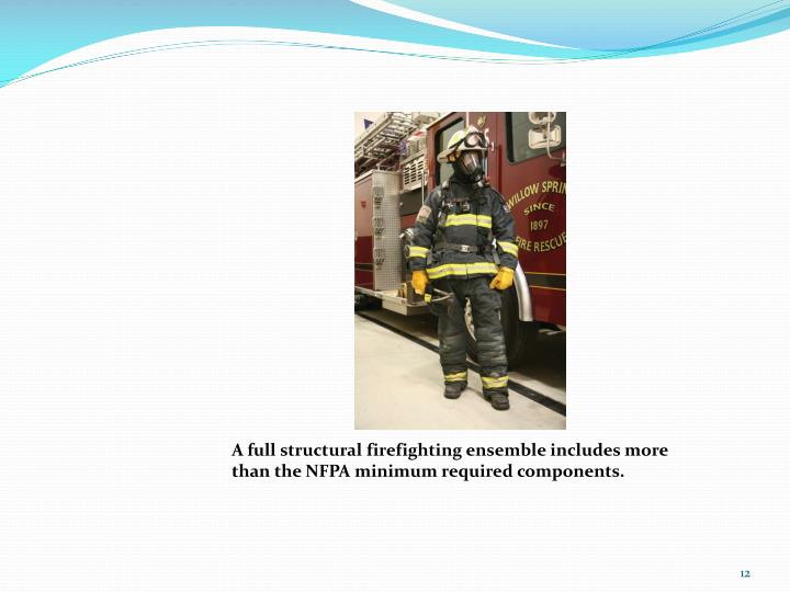 A full structural firefighting ensemble includes more than the NFPA minimum required components.