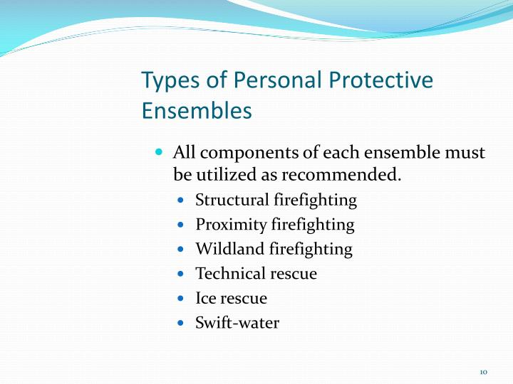 Types of Personal Protective Ensembles