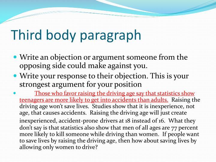 Third body paragraph
