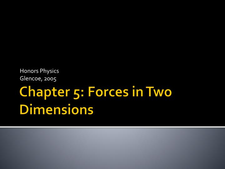 PPT Chapter 5 Forces In Two Dimensions PowerPoint