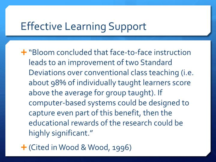 Effective Learning Support