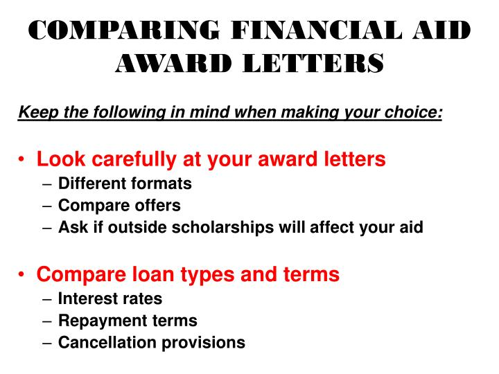 COMPARING FINANCIAL AID AWARD LETTERS