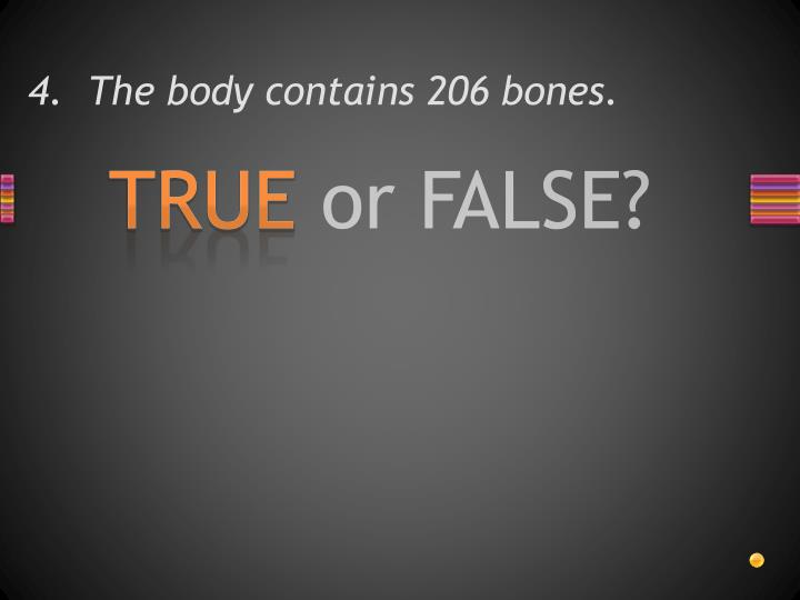 4.  The body contains 206 bones.