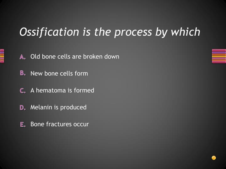 Ossification is the process by which