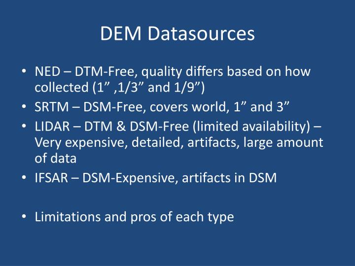 PPT Viewshed Creation From Digital Terrain Model To Digital - Dem data sources