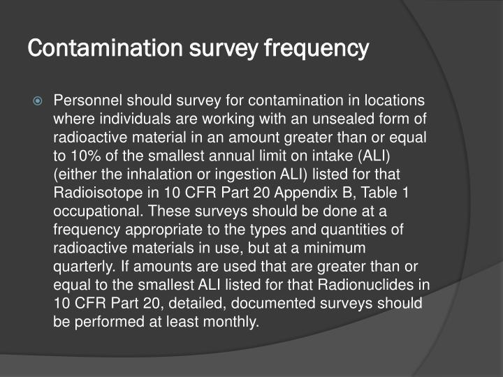 Contamination survey frequency