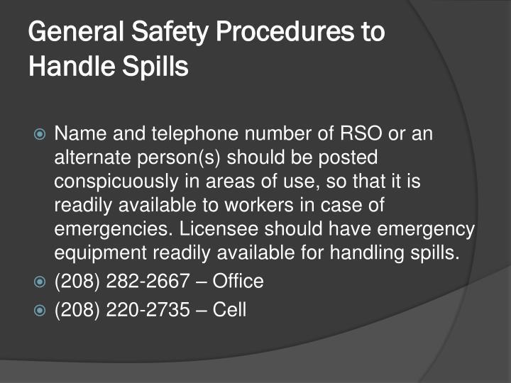 General Safety Procedures to Handle Spills