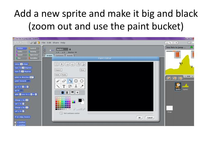 Add a new sprite and make it big and black (zoom out and use the paint bucket)