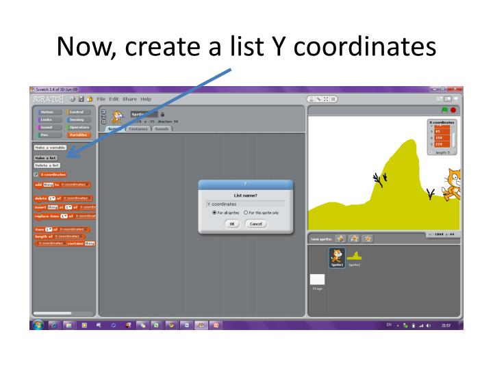 Now, create a list Y coordinates