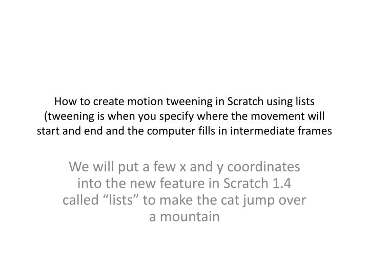 How to create motion