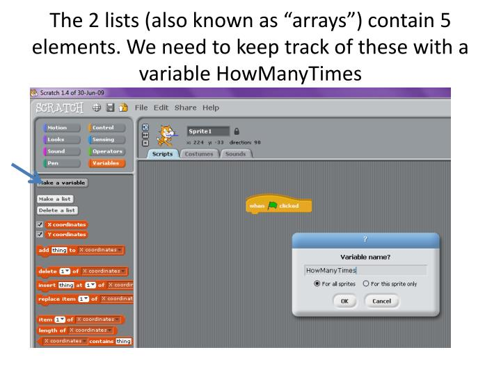"The 2 lists (also known as ""arrays"") contain 5 elements. We need to keep track of these with a variable"