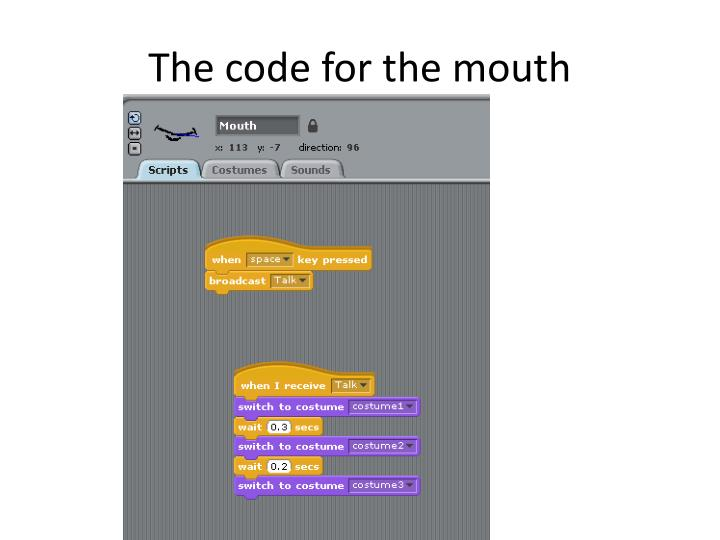The code for the mouth