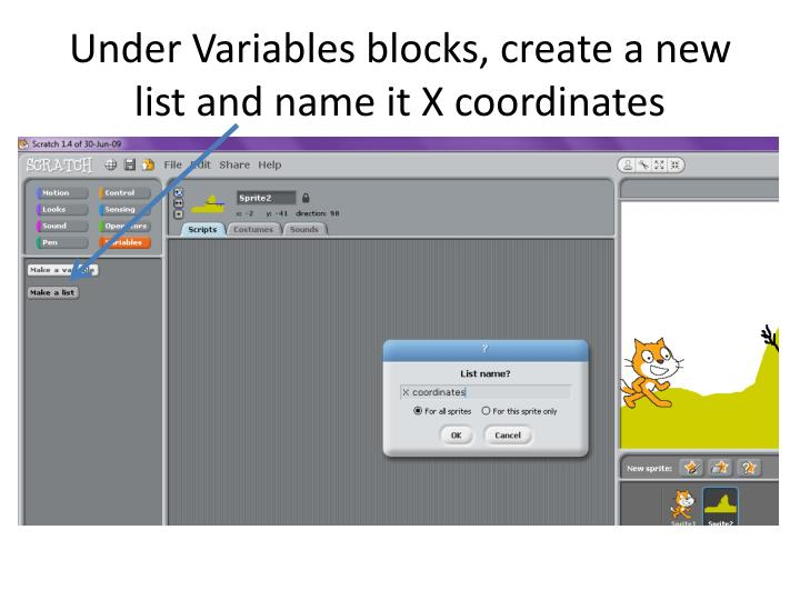 Under Variables blocks, create a new list and name it X coordinates