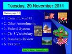 tuesday 29 november 2011