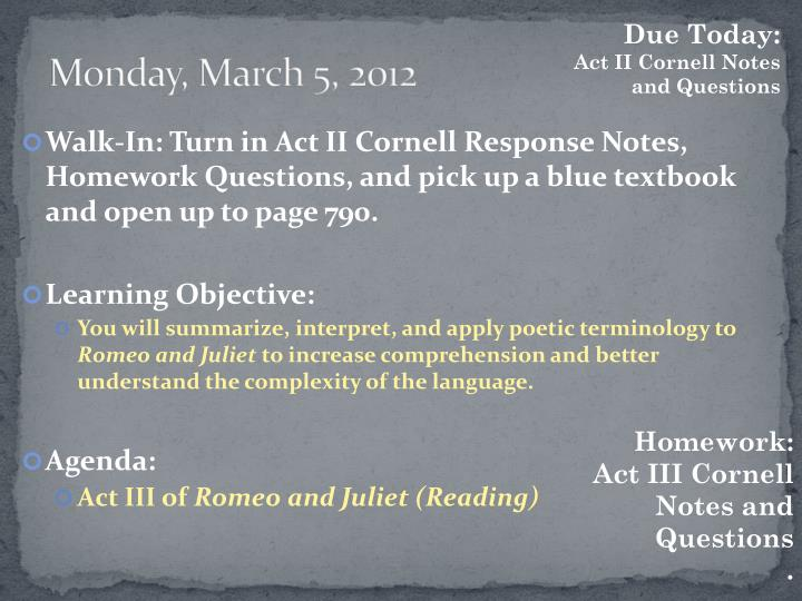 Monday march 5 2012
