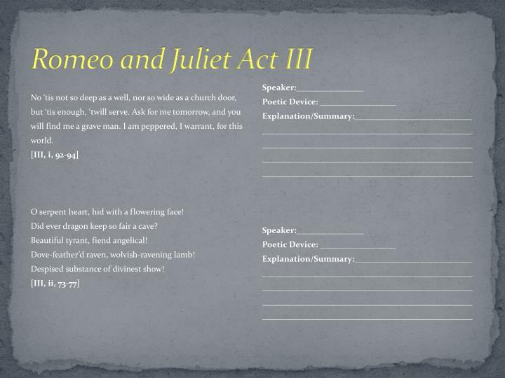 Romeo and Juliet Act III