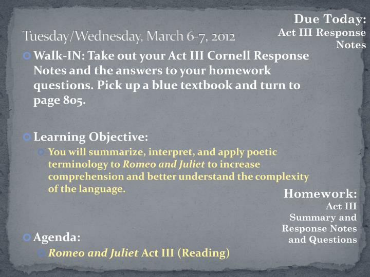 Tuesday/Wednesday, March 6-7, 2012