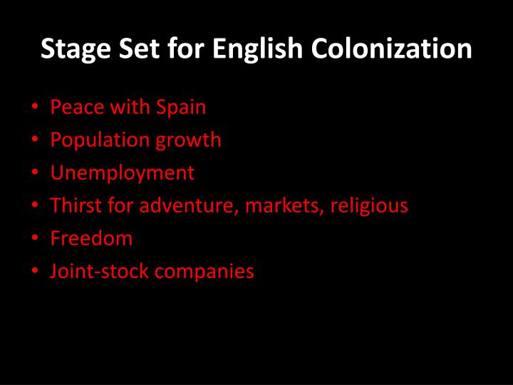 Stage Set for English Colonization