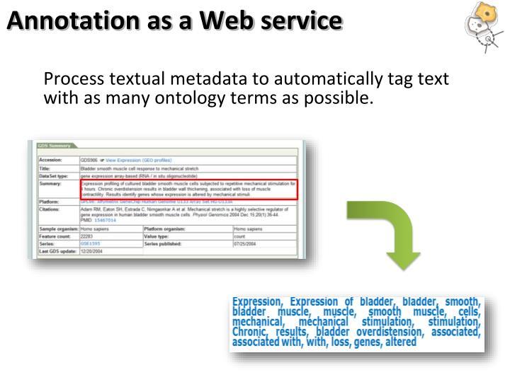 Annotation as a Web service