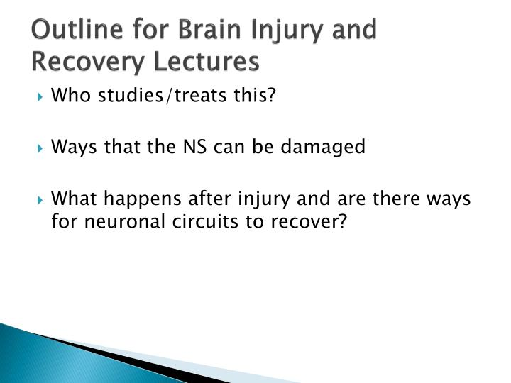 outline for brain injury and recovery lectures n.