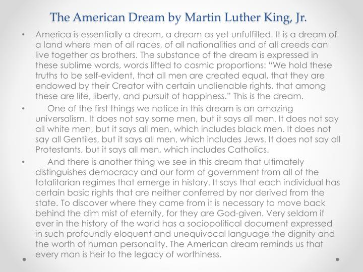 The American Dream by Martin Luther King, Jr.