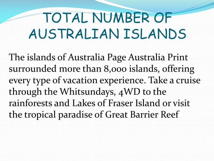 Total number of australian islands