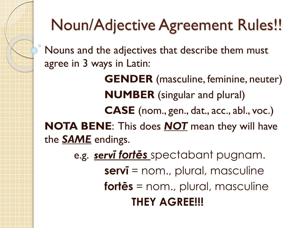Ppt Nounadjective Agreement Rules Powerpoint Presentation Id