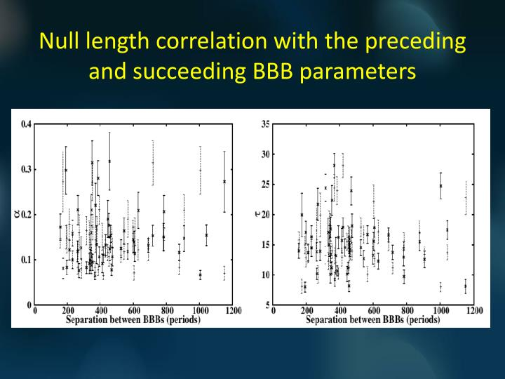 Null length correlation with the preceding and succeeding BBB parameters