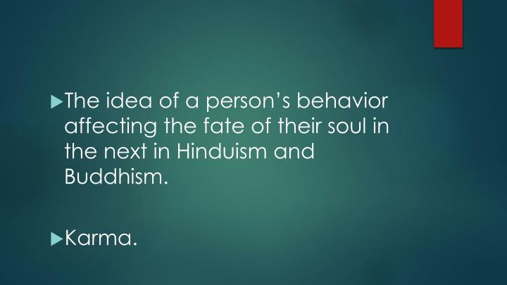 The idea of a person's behavior affecting the fate of their soul in the next in Hinduism and Buddhism.