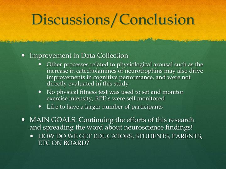 Discussions/Conclusion