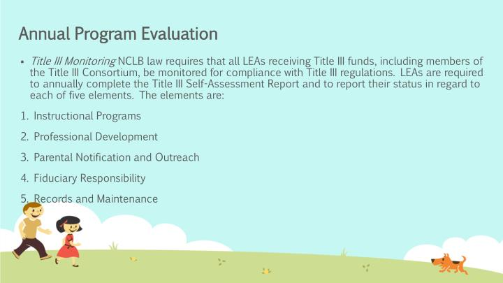 Annual Program Evaluation