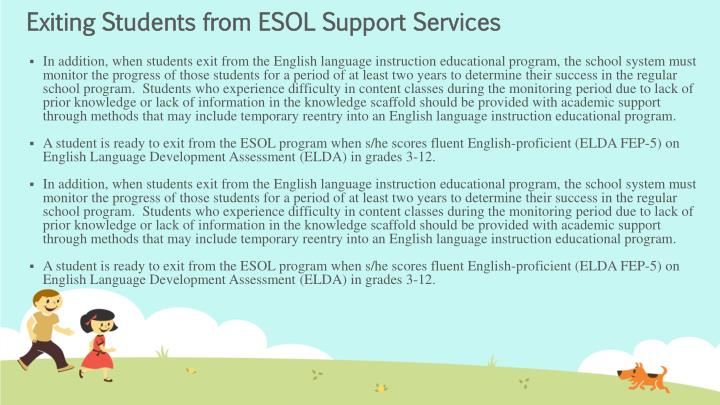 Exiting Students from ESOL Support Services