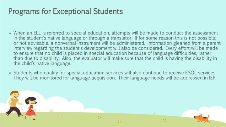 Programs for Exceptional Students