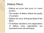 defects metric