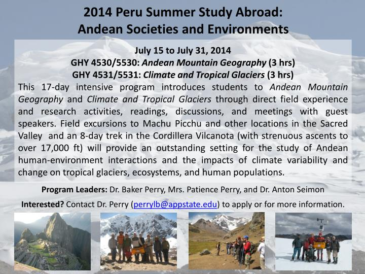2014 peru summer study abroad andean societies and environments