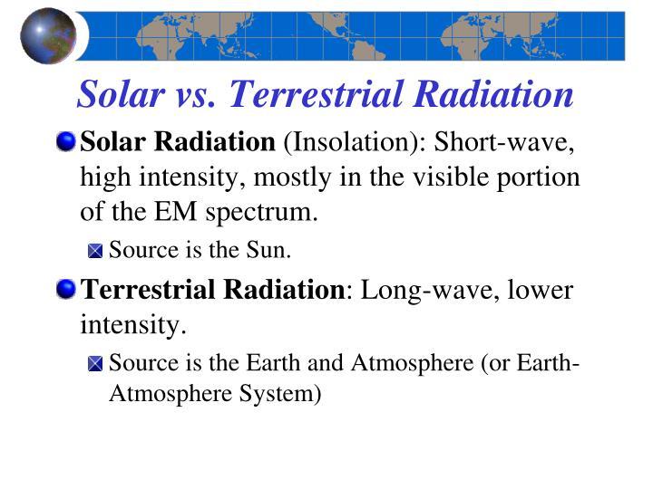 Solar vs. Terrestrial Radiation