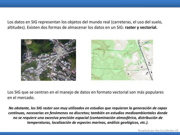 Los datos en SIG representan los objetos del mundo real (carreteras, el uso del suelo, altitudes). Existen dos formas de almacenar los datos en un SIG: