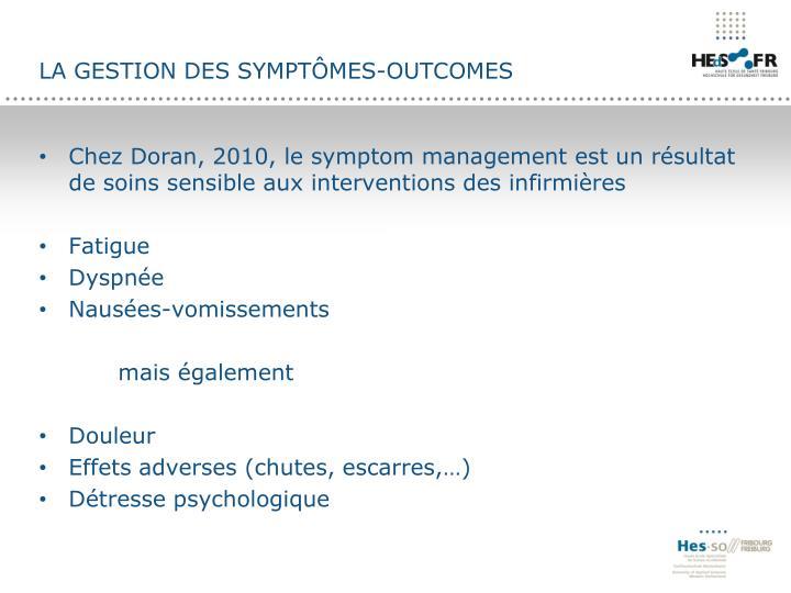 La gestion des symptômes-