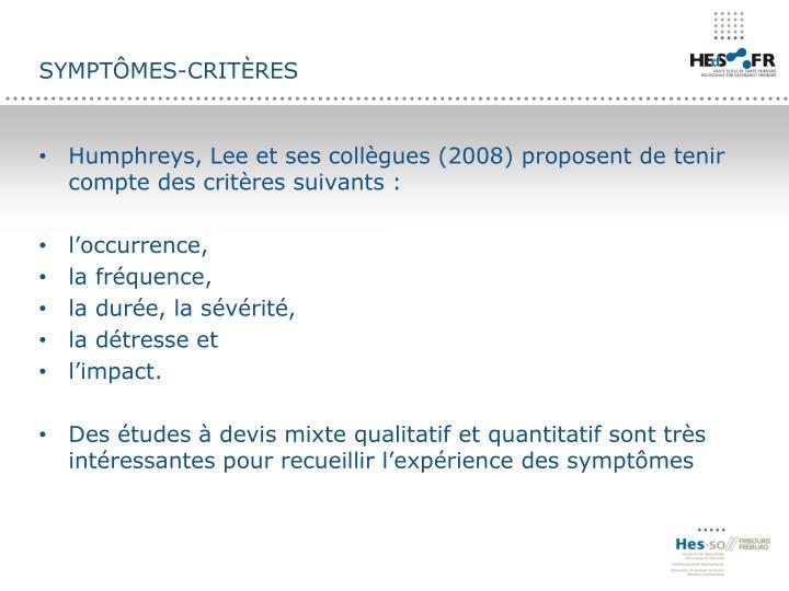 Symptômes-critères