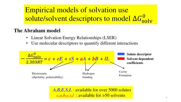 Empirical models of solvation use solute/solvent descriptors to model