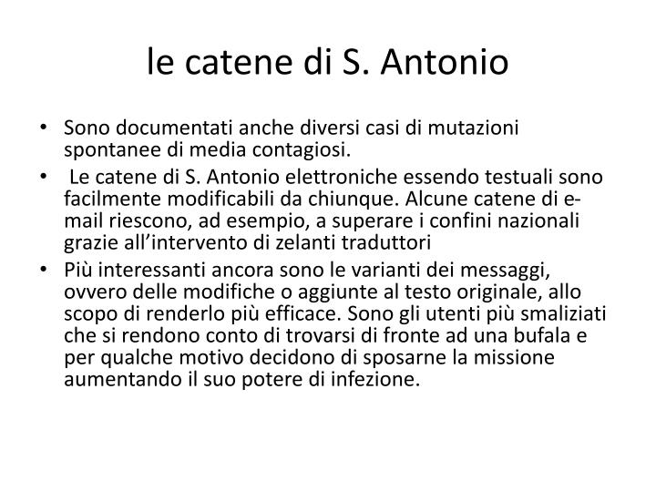 le catene di S. Antonio