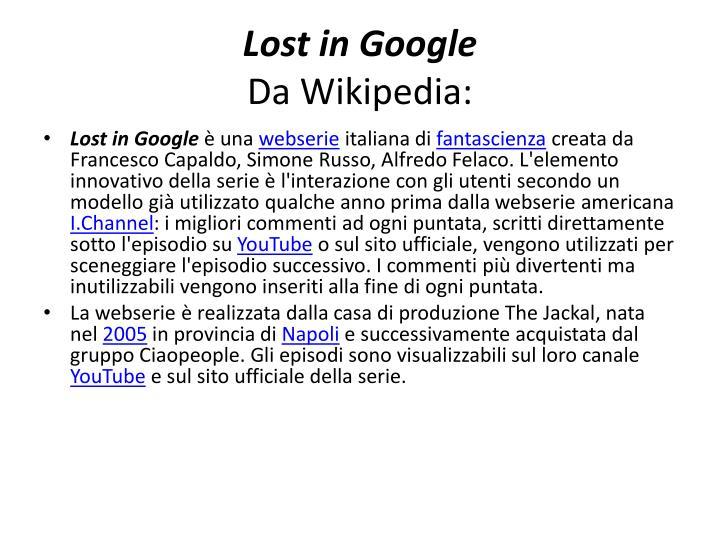 Lost in google da wikipedia