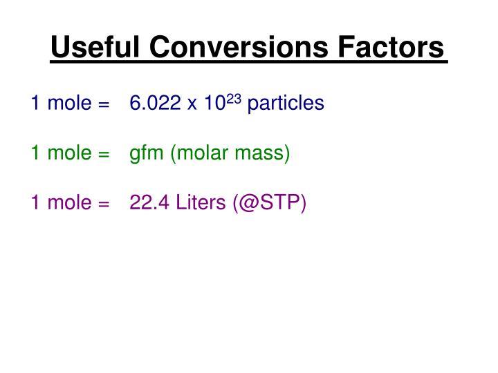 Useful Conversions Factors