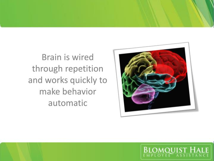 Brain is wired through repetition and works quickly to make behavior