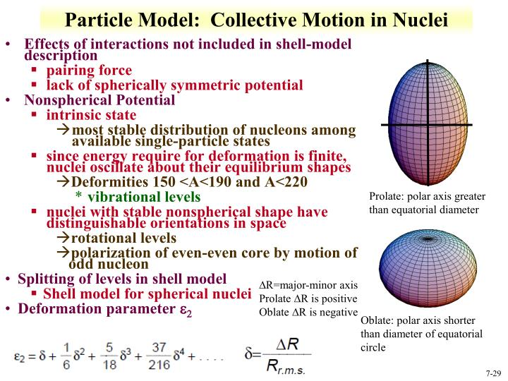 Particle Model:  Collective Motion in Nuclei