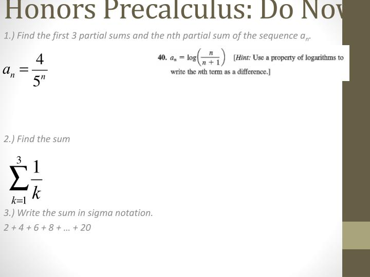 PPT - Honors Precalculus : Do Now PowerPoint Presentation