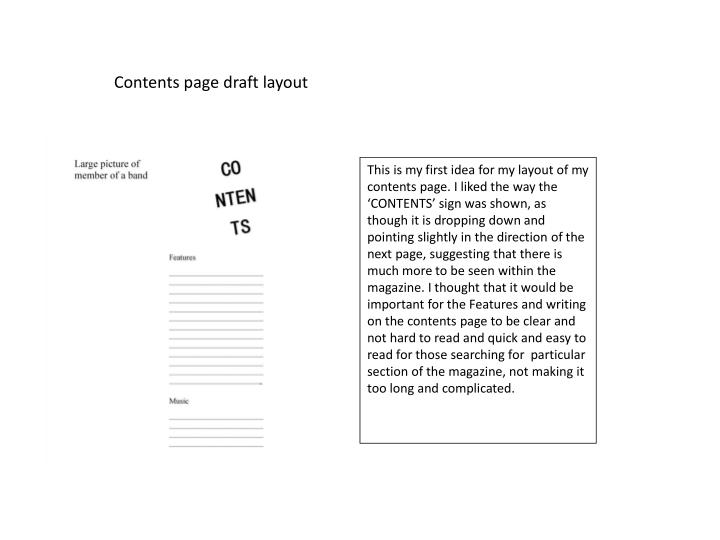 Contents page draft layout