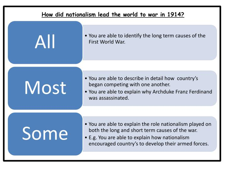 How did nationalism lead the world to war in 1914?